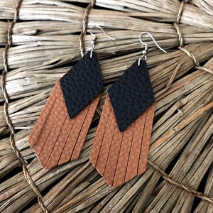 Black and Cognac Tassel Vegan Leather Earrings