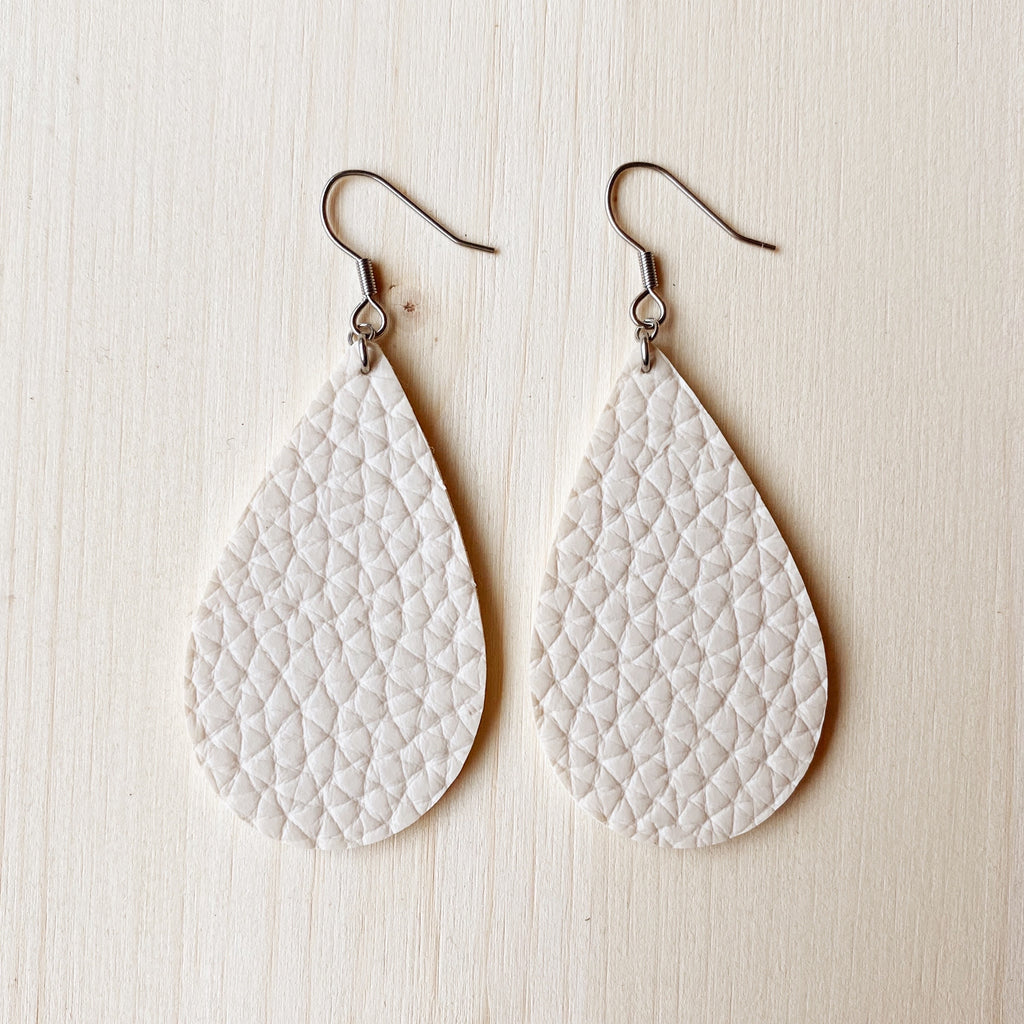 Cream Vegan Leather Teardrop Earrings