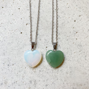 Stone Heart Necklace - Opalite