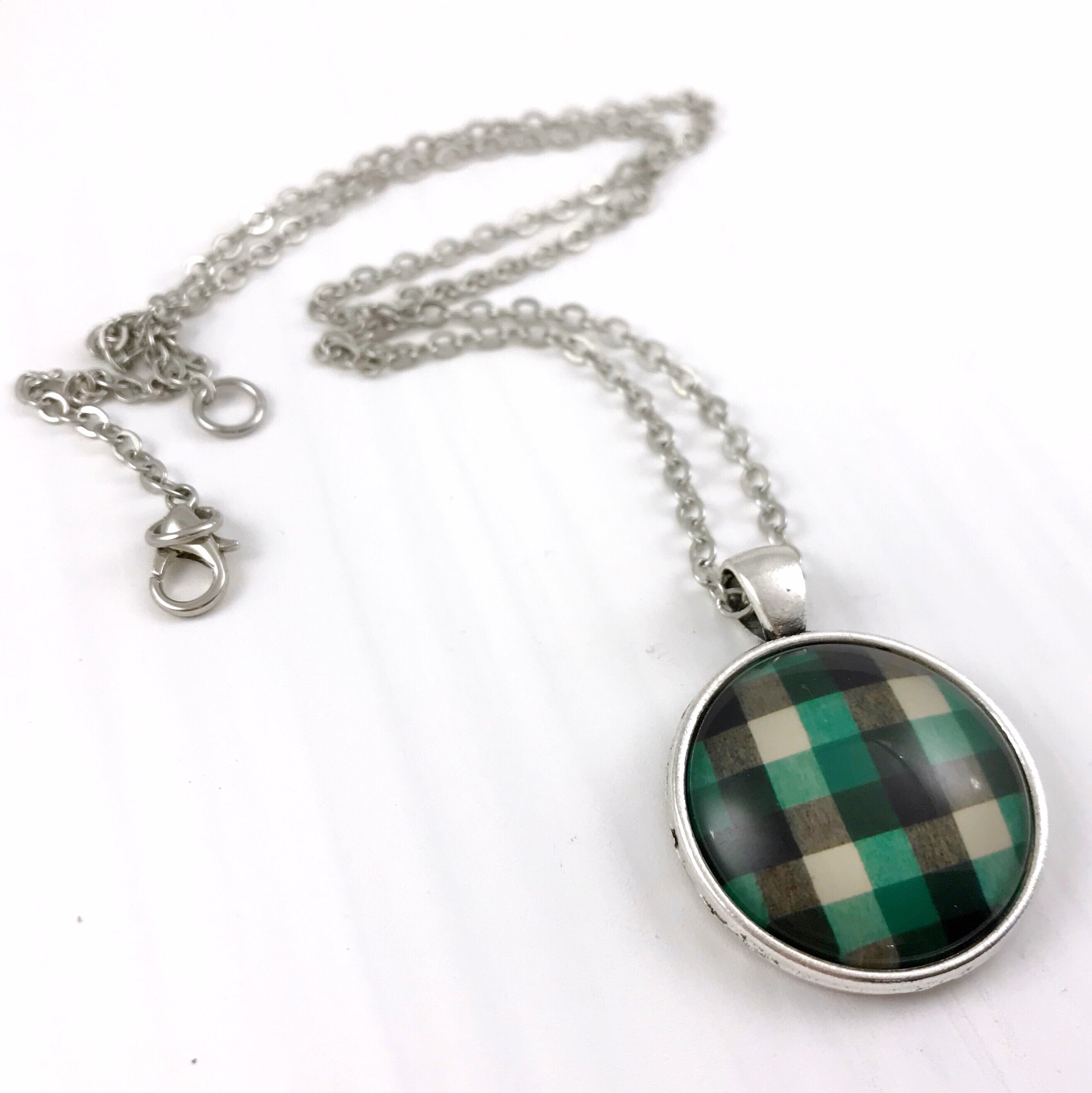 Green, White and Black Plaid Necklace