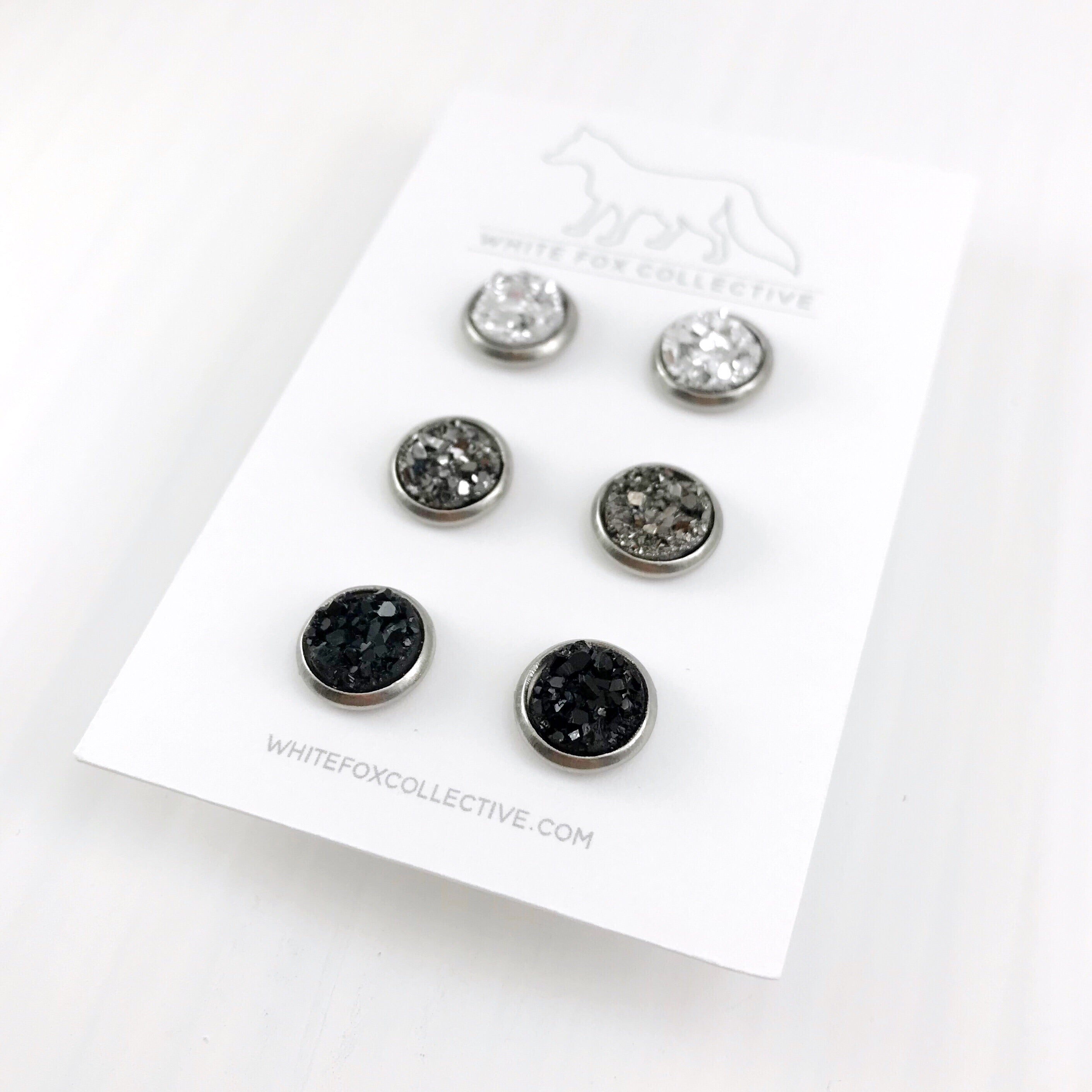 Triple Earring Pack - Gunmetal Mix