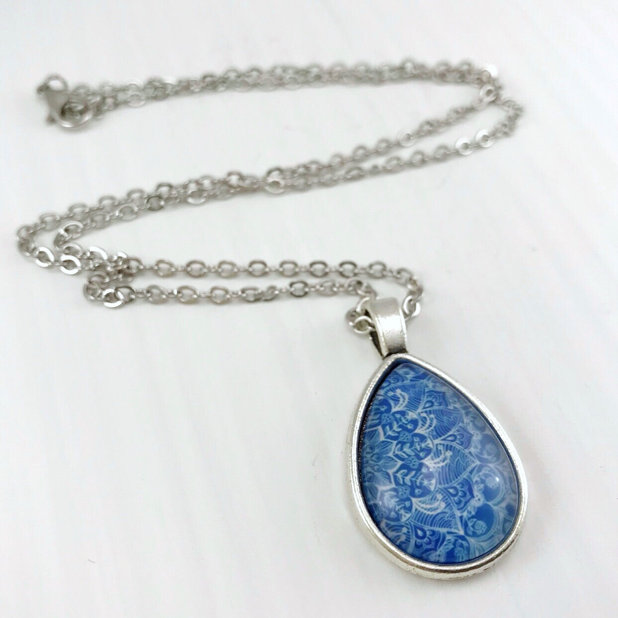 Blue Mandala Teardrop Necklace - Antique Silver