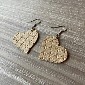 Gold Cross Heart Vegan Leather Earrings