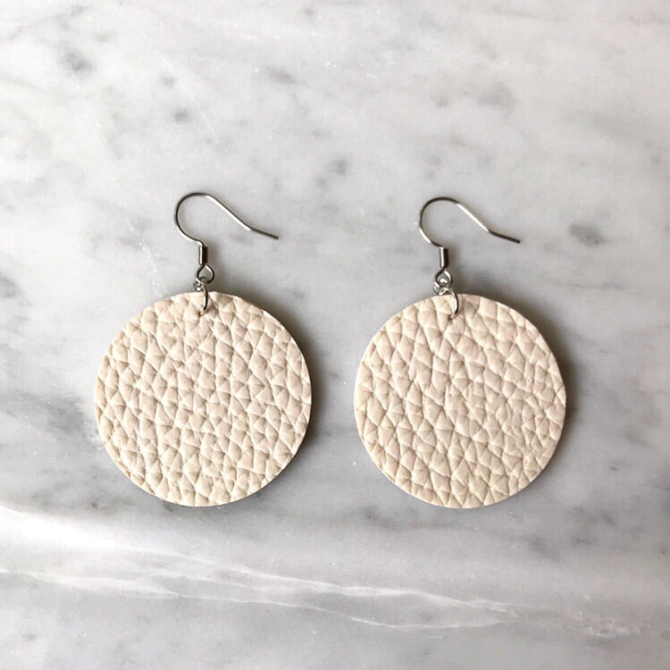 Cream Vegan Leather Circle Earrings