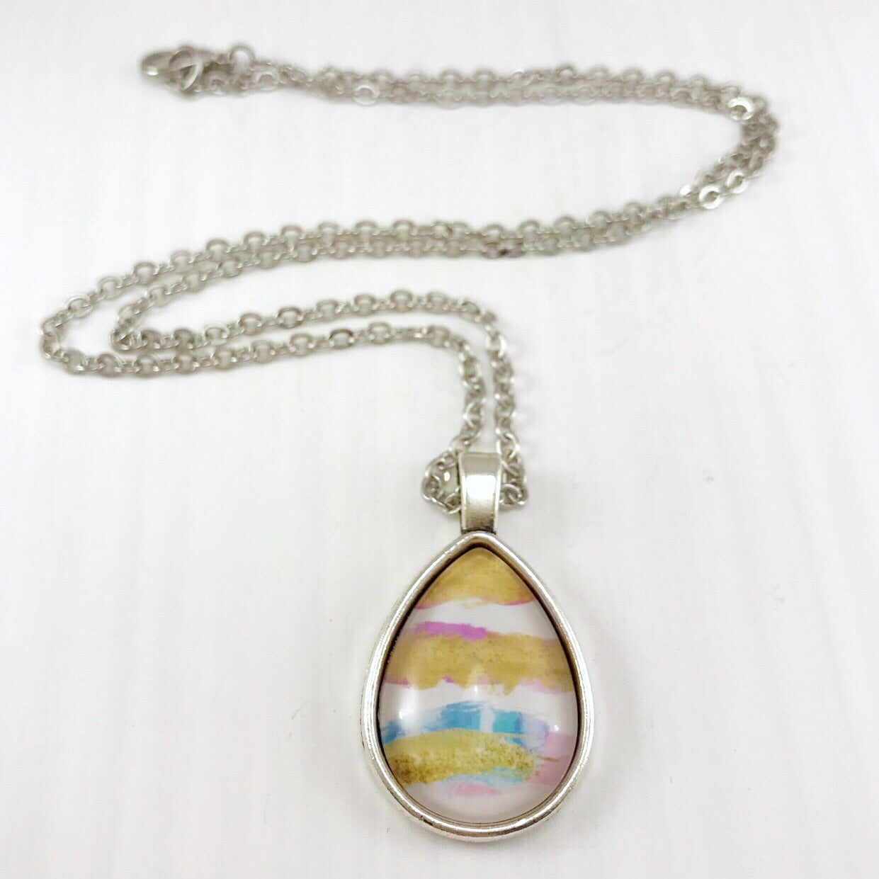 Gold, Pink and Blue Watercolour Teardrop Necklace - Antique Silver