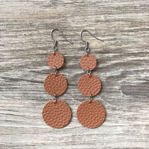 Cognac Vegan Leather Long Circle Earrings
