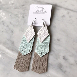 White, Ice Blue and Sand Tassel Vegan Leather Earrings