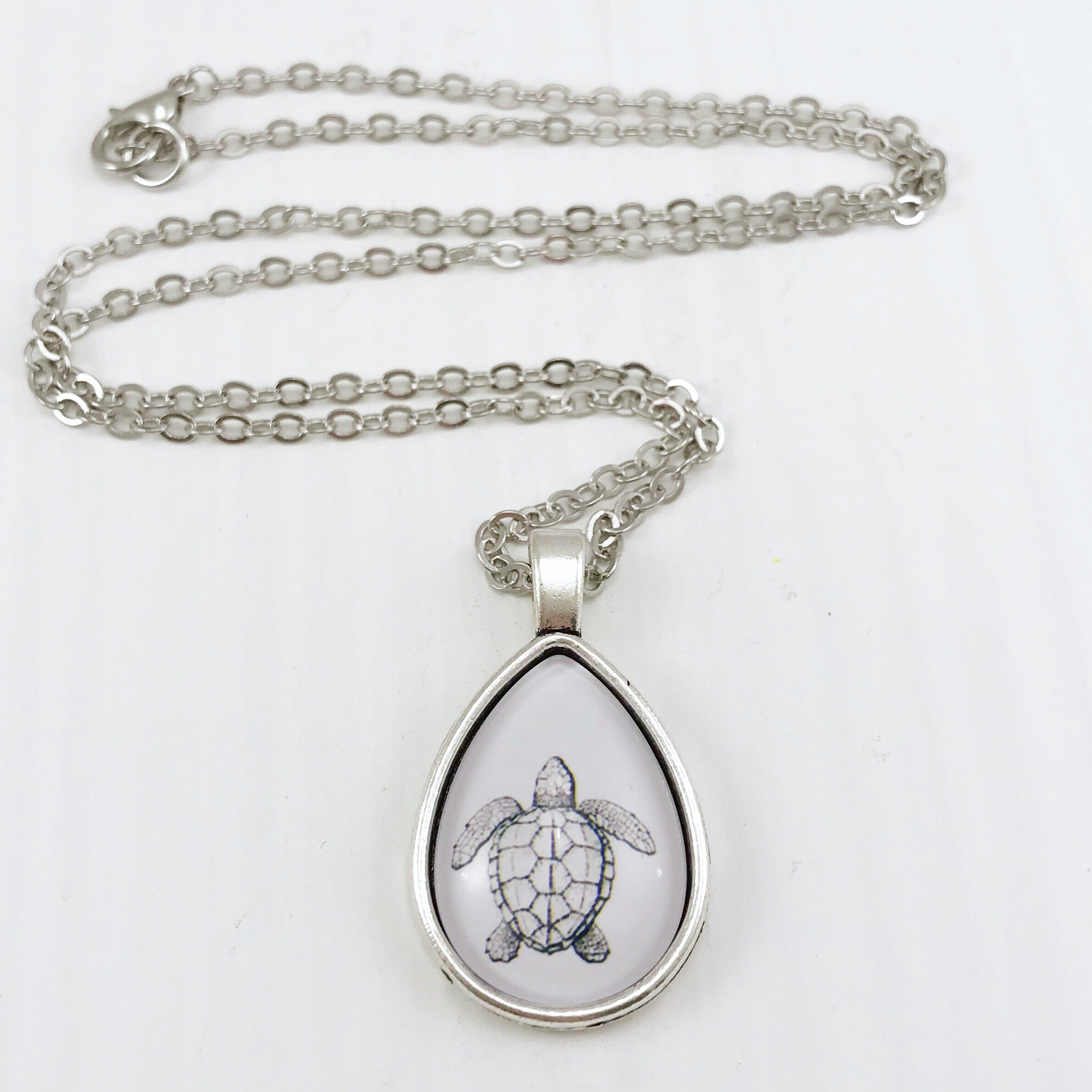Turtle Teardrop Necklace - Antique Silver