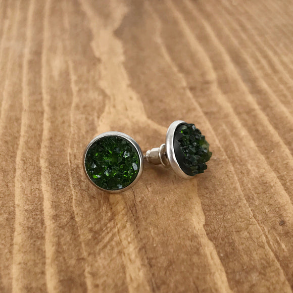 Emerald Green Faux Druzy Earrings