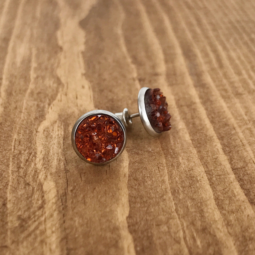 Amber Faux Druzy Earrings