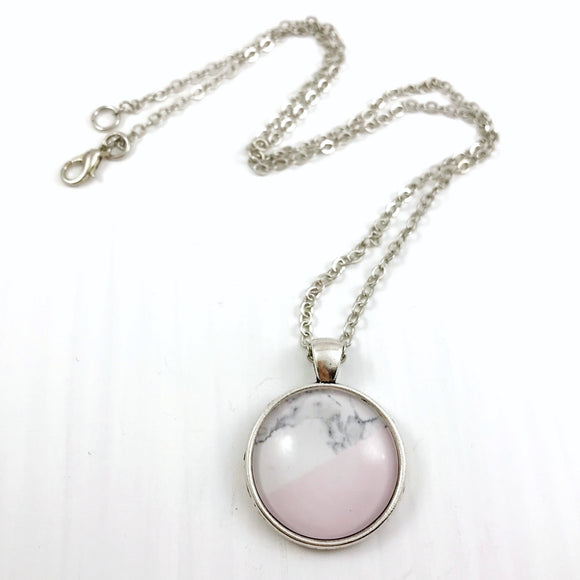 Pink and White Marble Necklace