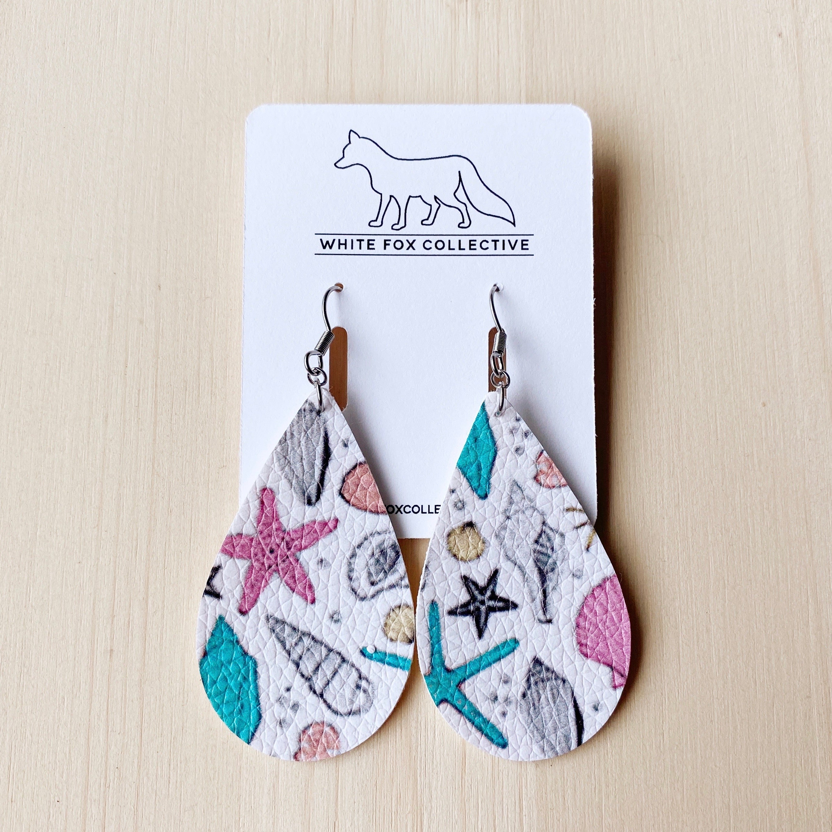 Ocean Vegan Leather Teardrop Earrings