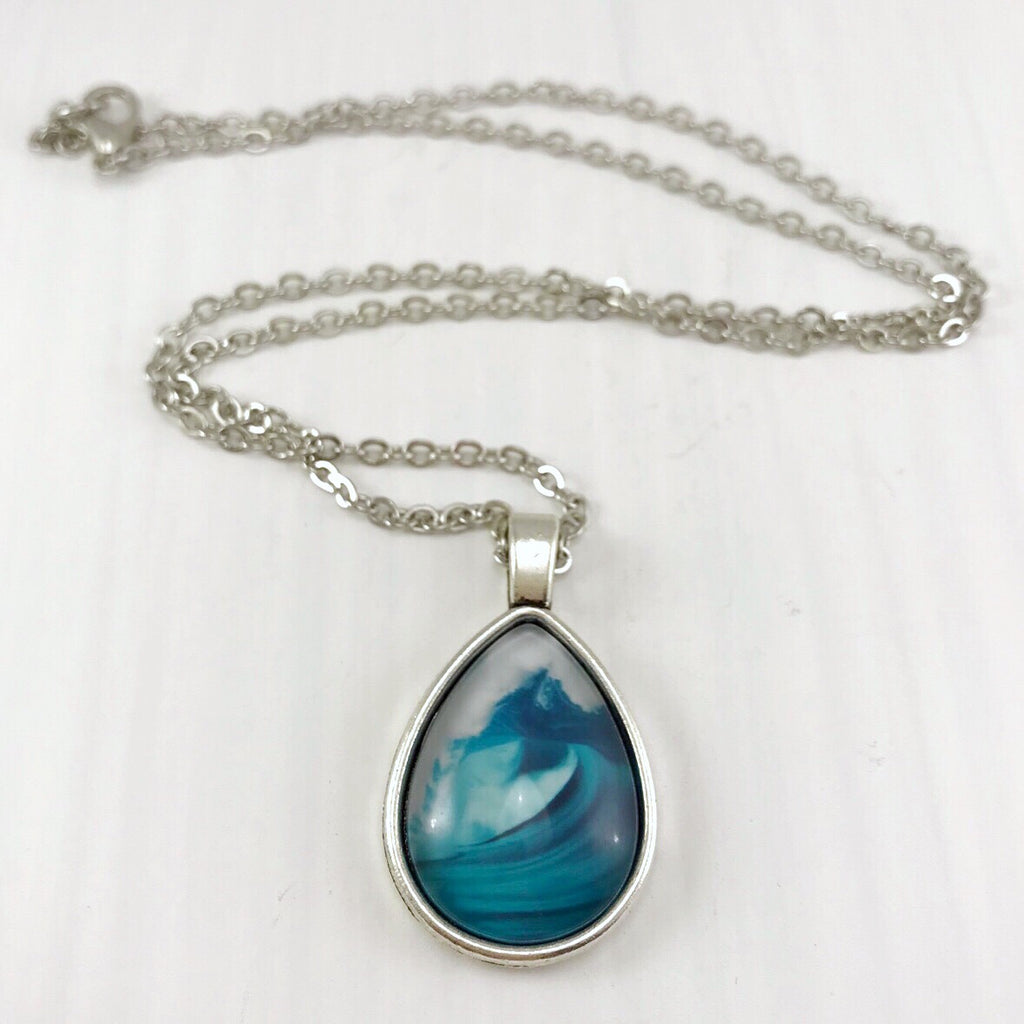 Ocean Waves Teardrop Necklace - Antique Silver