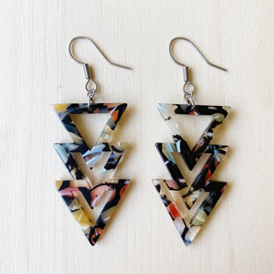 Triangle Drop Acetate Earrings - Multicolour