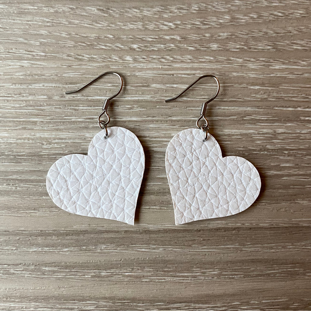 White Heart Vegan Leather Earrings