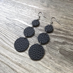 Black Vegan Leather Long Circle Earrings