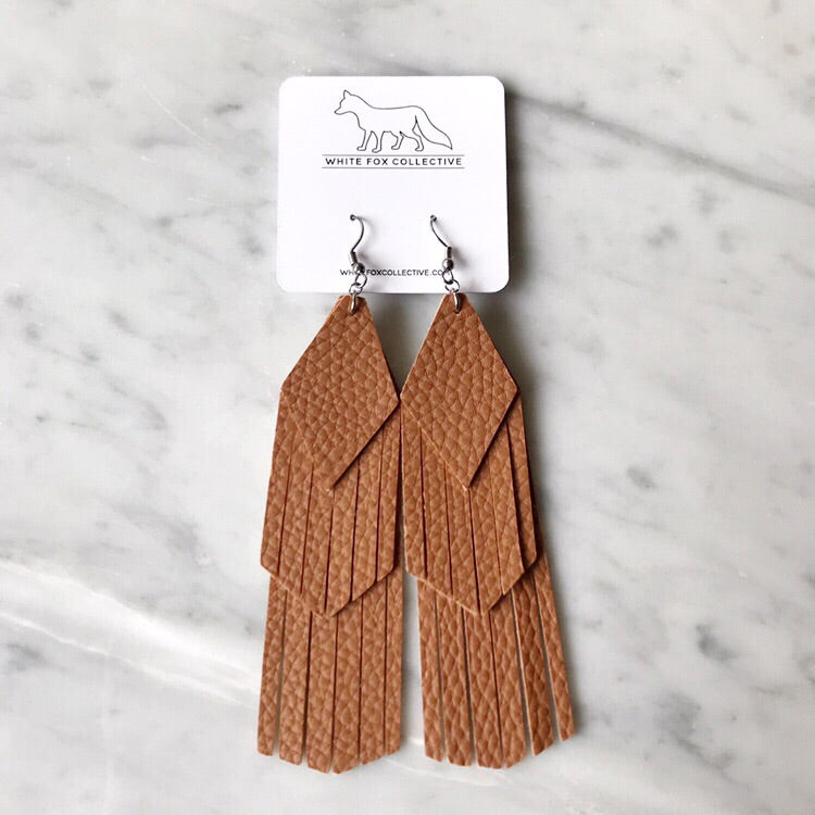 Cognac Tassel Vegan Leather Earrings