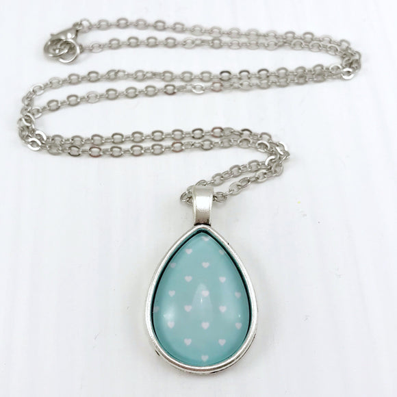 Light Blue Hearts Teardrop Necklace - Antique Silver