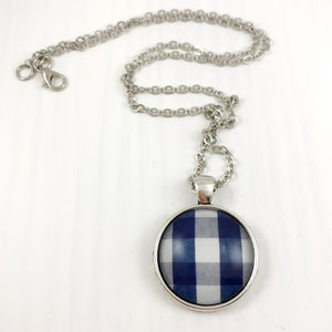 Blue Plaid Necklace
