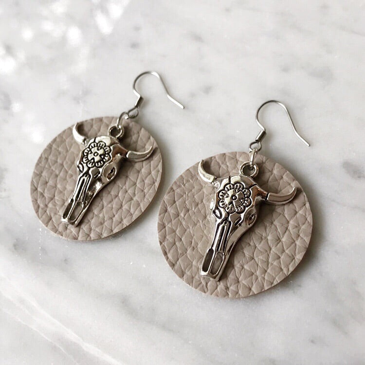 Sand Vegan Leather Bull Skull Earrings