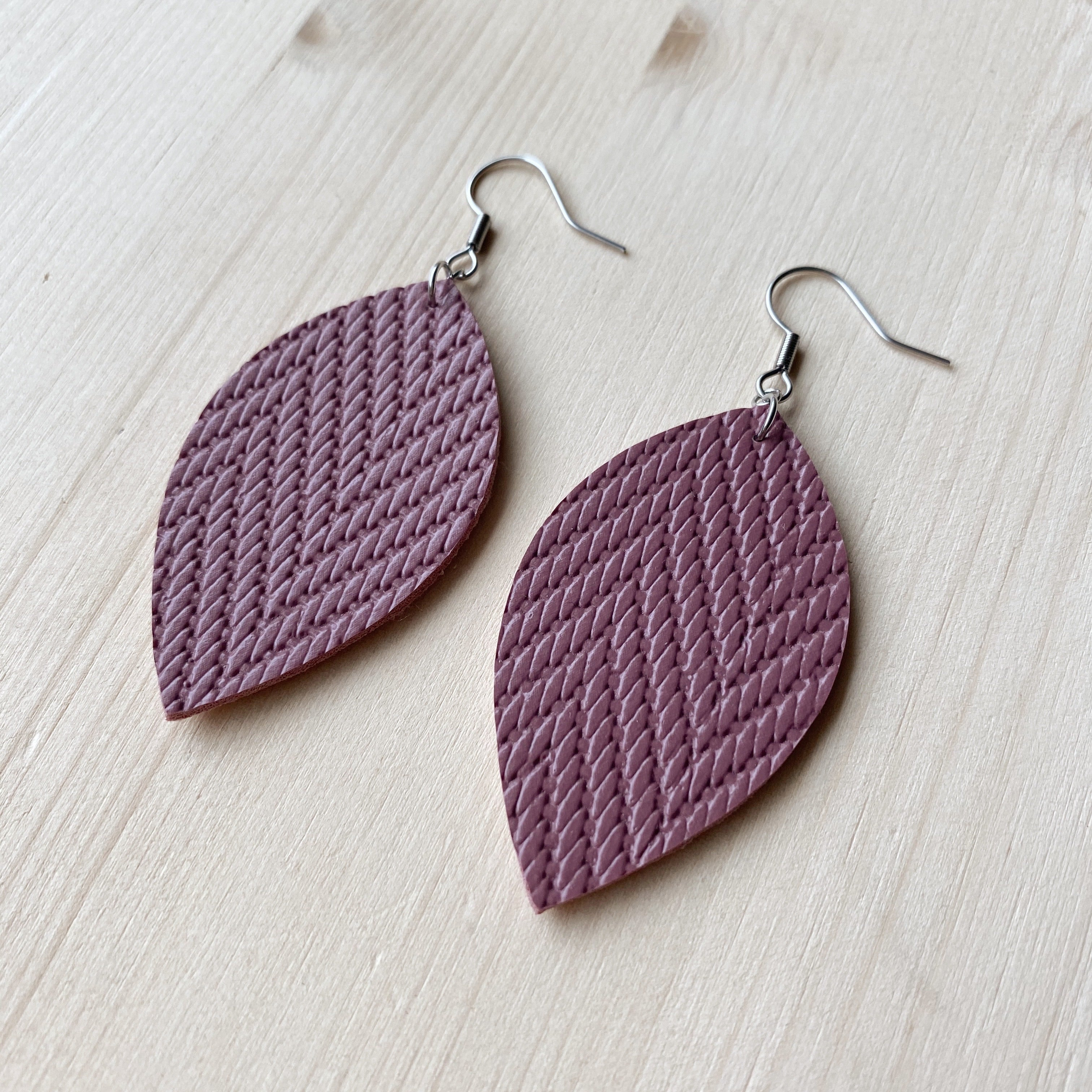 Leaf Earrings - Mauve