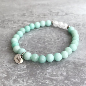 Amazonite and Cracked Quartz Bracelet - 6mm