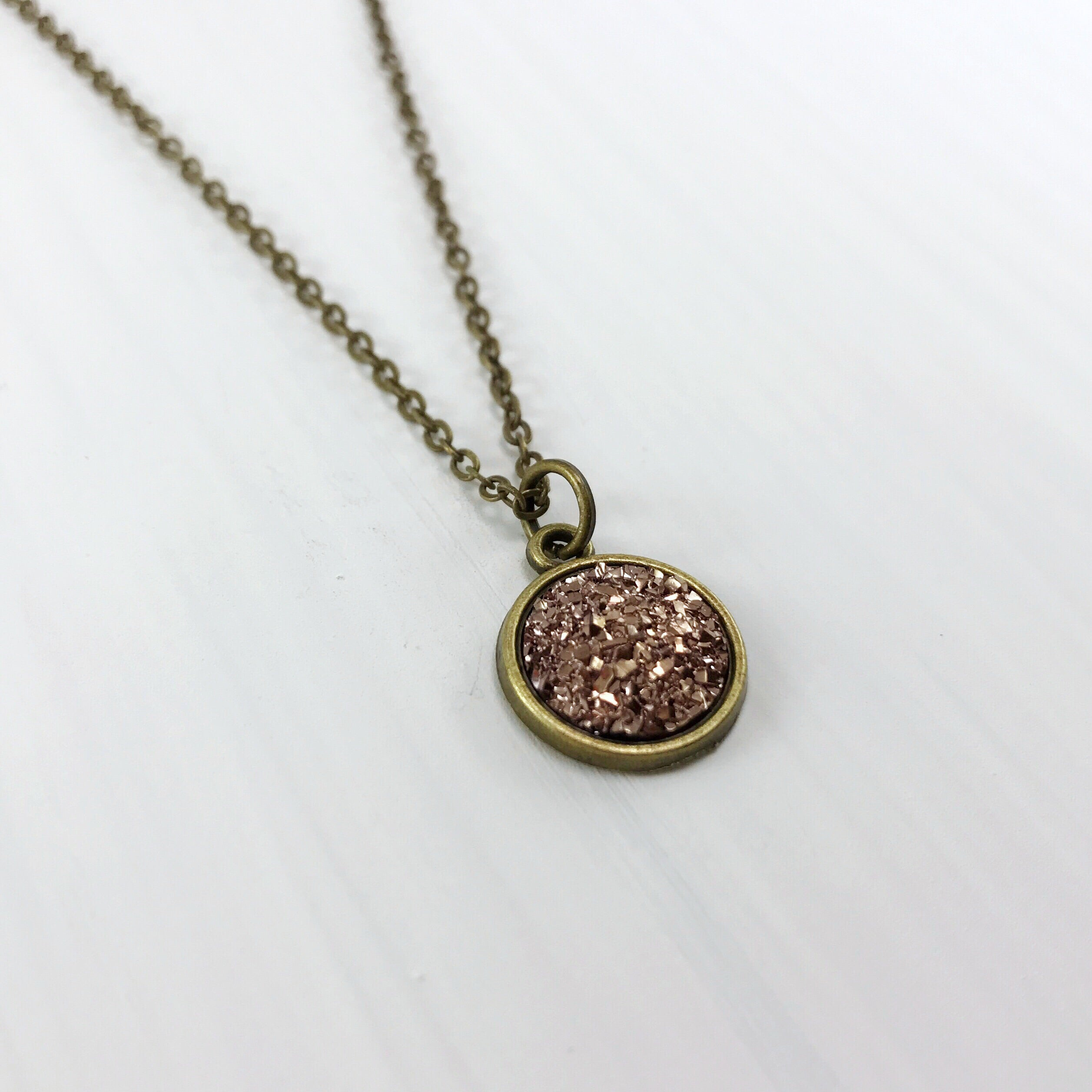 Dark Champagne Faux Druzy Necklace - Small