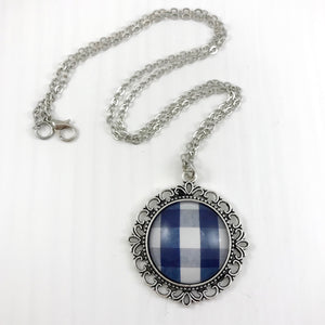 Blue Plaid Necklace Ornate