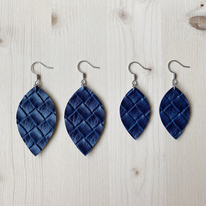 Leaf Earrings - Navy Weave