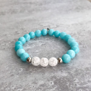 Aquamarine and Cracked Quartz Bracelet - 8mm