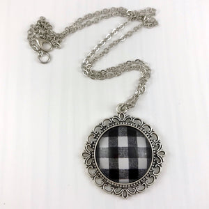 Black and White Plaid Necklace Ornate