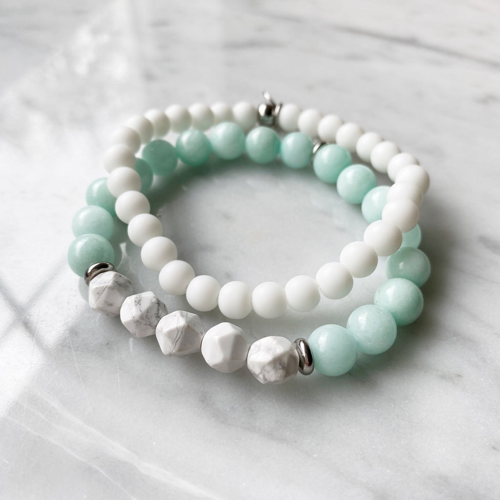 Amazonite and White Agate Bracelet Set 8mm - 2 Piece