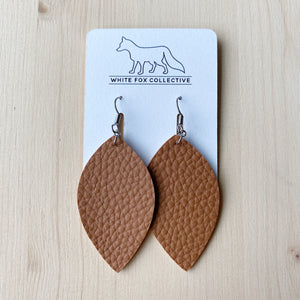 Leaf Earrings - Cognac