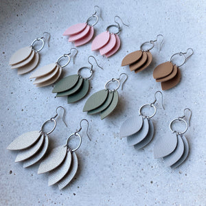 Triple Leaf Earrings - Grey