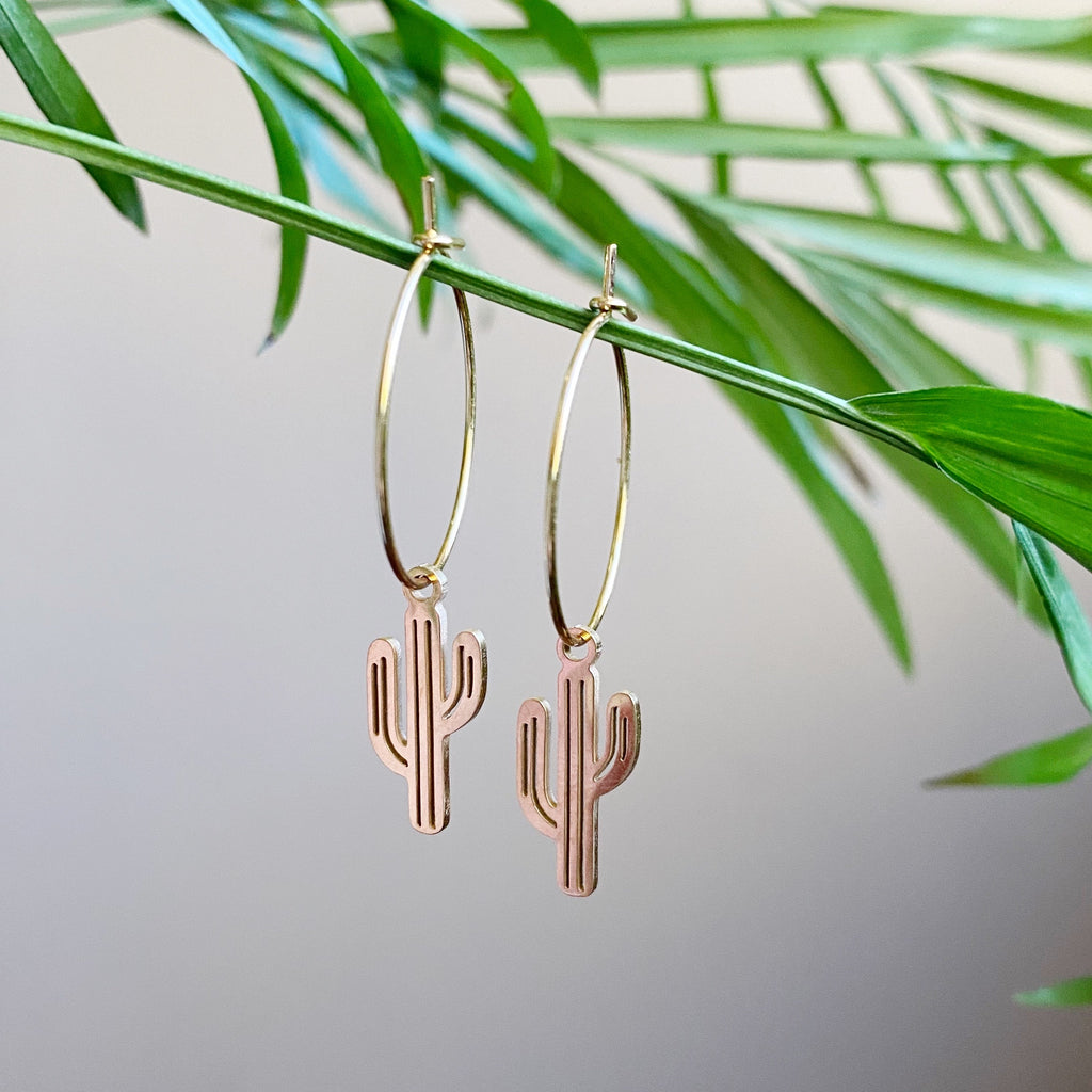 Cactus Hoop Earrings - Gold
