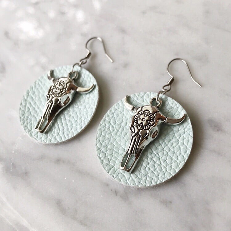 Ice Blue Vegan Leather Bull Skull Earrings