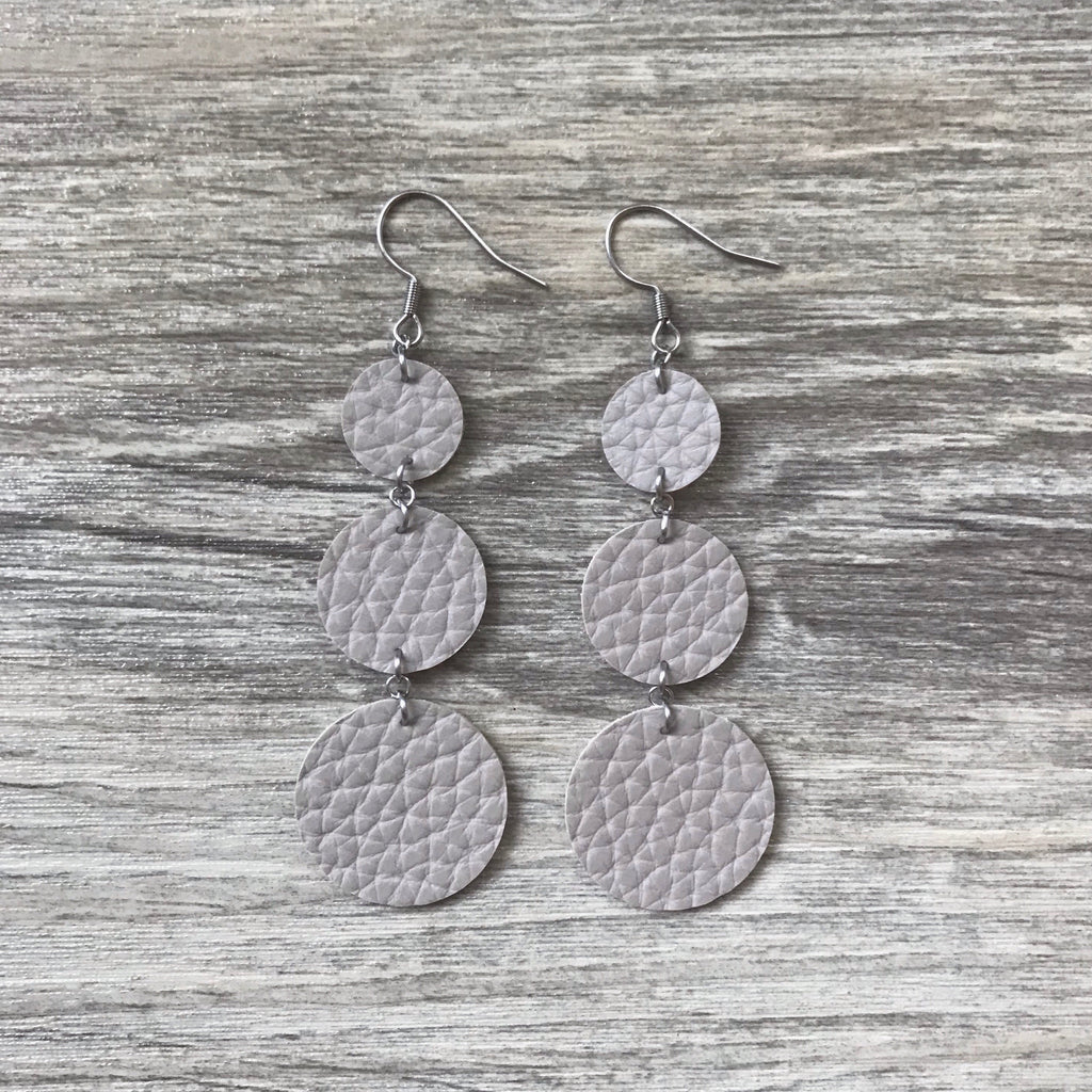Sand Vegan Leather Long Circle Earrings