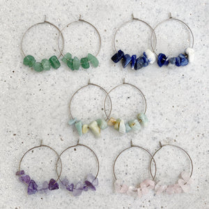 Stone Hoop Earrings - Amethyst