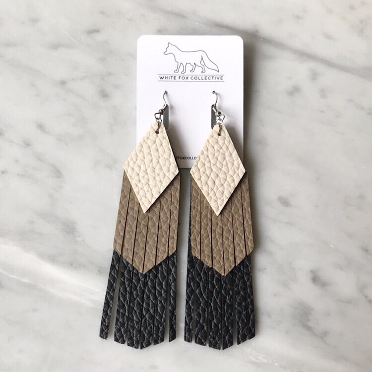 Cream, Taupe and Black Tassel Vegan Leather Earrings