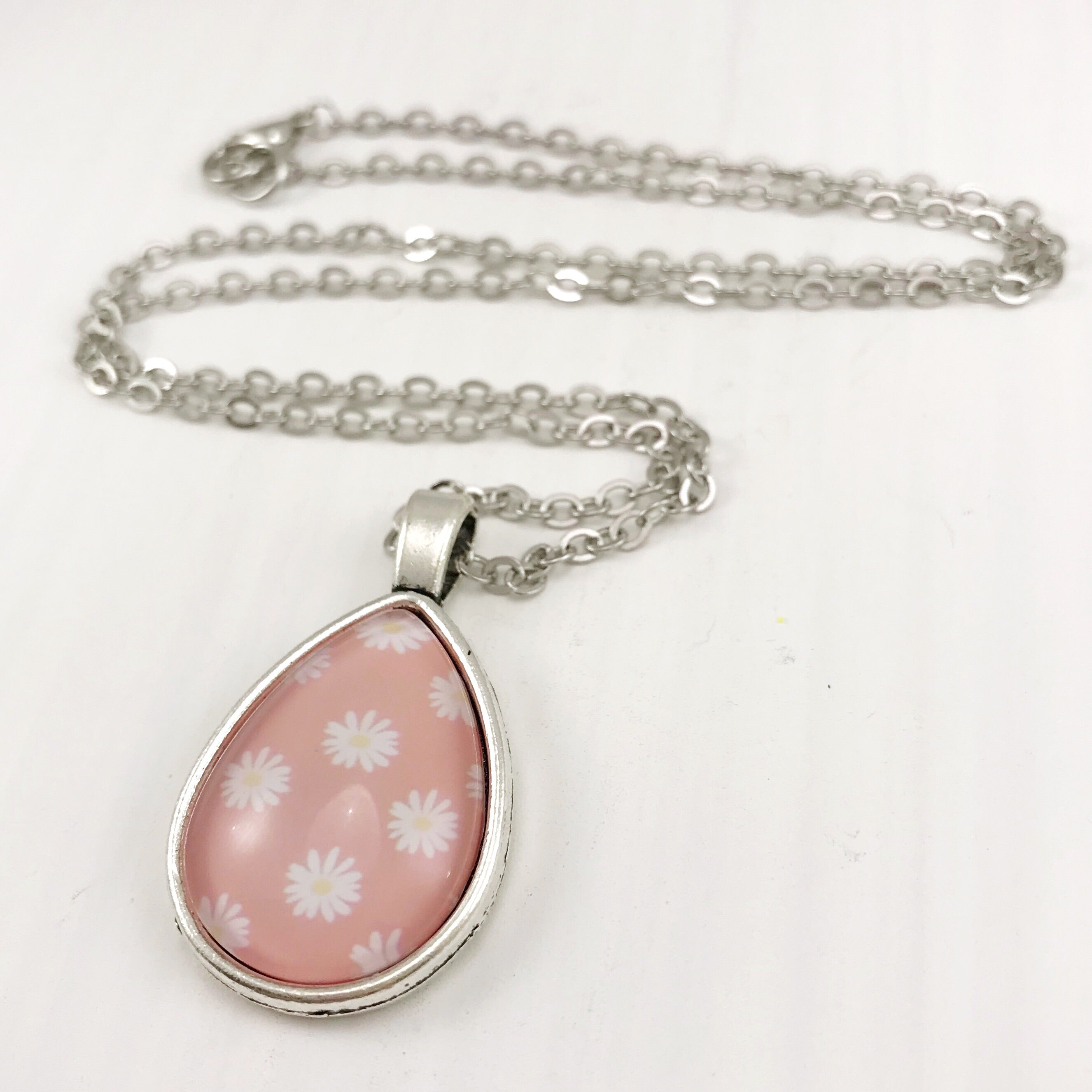 Pink Daisy Teardrop Necklace - Antique Silver