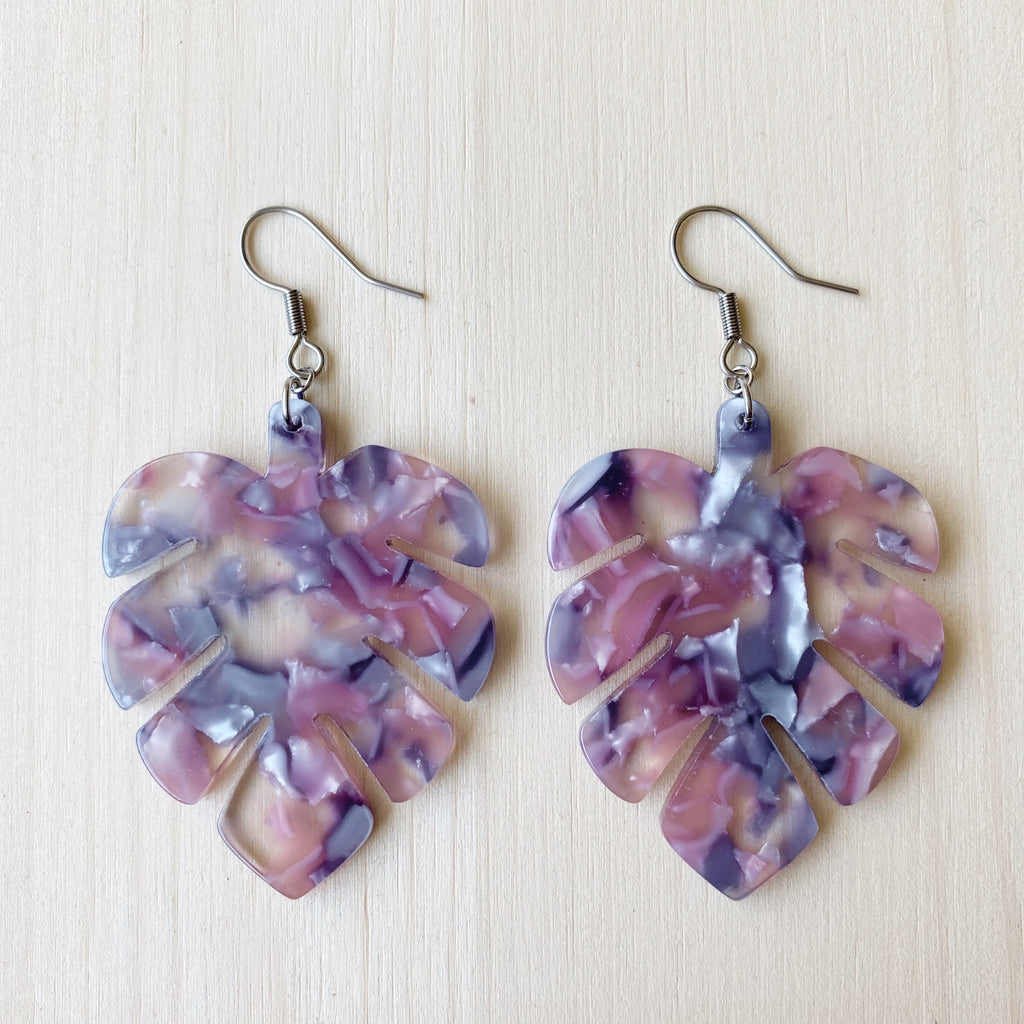 Monstera Acetate Earrings - Purple