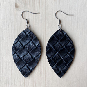 Leaf Earrings - Black Weave