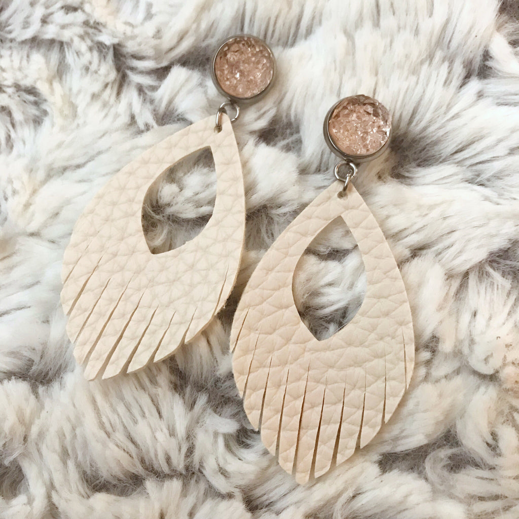 Blush and Cream Vegan Leather Tassel Earrings
