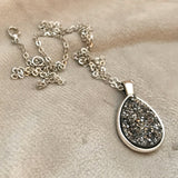 Gunmetal Faux Druzy Necklace - Teardrop