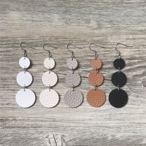 White Vegan Leather Long Circle Earrings