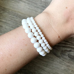 White Agate Bracelet - 6mm
