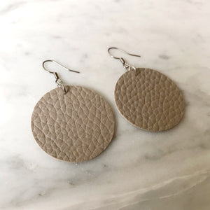 Sand Vegan Leather Circle Earrings