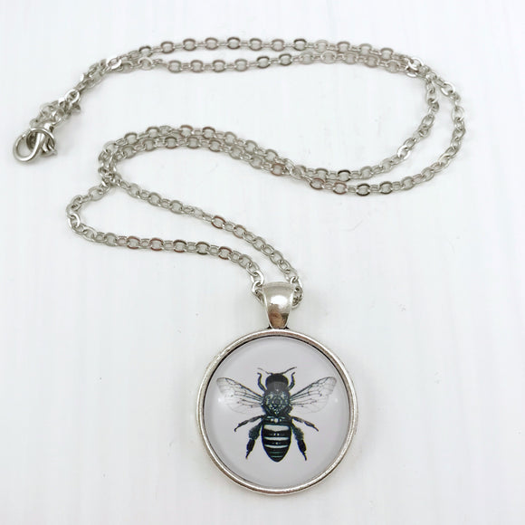 Bee Necklace - Antique Silver