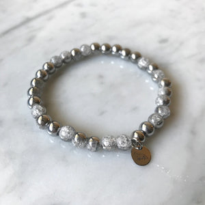 Silver Cracked Crystal Bracelet - 6mm