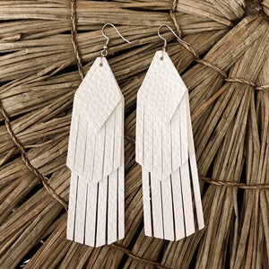 White Tassel Vegan Leather Earrings